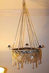RARE AUTHENTIC BIEDERMEIR circa1825 HAND WOVEN BEADED GLASS CHANDELIER - GERMANY