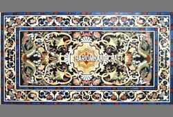 Indian Exclusive Black Marble Inlaid Pietradura Table Top Patio Rare Decor H3292