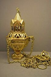 Traditional Brass Church Censer with Inner Liner Gothic Style #346 $482.00