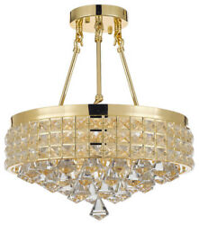 Semi Flush Mount French Empire Crystal Chandelier Gold $93.46