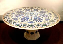 Marble Lapis Floral Stone Dining Table Inlaid With Stand Patio Decorative H3950