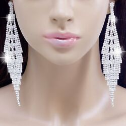 #E121T 5quot; VERY LONG CLIP ON Clear Crystal BIG Chandelier Earrings Wedding Bridal $7.29