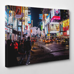times square NYC – Framed Canvas Art Print – City Night life times square new
