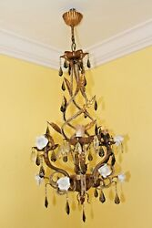 c1930's FRENCH ART DECO MAISON BAGUES PORCELAIN ROSES GILT FLORAL CHANDELIER