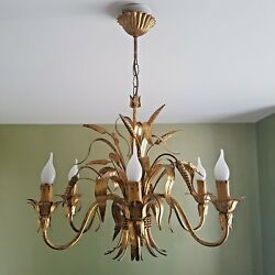 MID CENTURY AUTH. MAISON BAGUES 6 LIGHT GILT TOLE CHANDELIER -SHEAF OF WHEAT