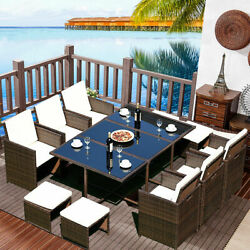 11 PCS Outdoor Patio Dining Set Rattan Wicker Furniture Garden Cushioned Cover