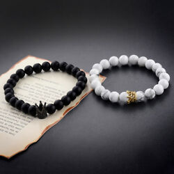 2Pcs Couple King Queen Crown Bracelets His And Her Friendship 8mm Beads Bracelet