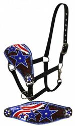 WESTERN SADDLE HORSE AMERICAN FLAG BRONC HALTER RED WHITE BLUE LEATHER NOSE BAND $29.90