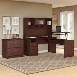 Cabot 60W L Shaped Sit to Stand Desk Hutch and Cabinet in Cherry