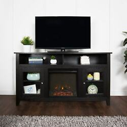 58-inch Black Wood Highboy Fireplace TV Stand