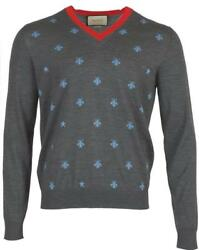 NEW GUCCI MEN'S GRAY LANA WOOL BEE EMBROIDERED CREW NECK SWEATER L