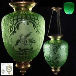 AUTH. 19thc. FRENCH BACCARAT EMERALD VASELINE GLASS - DOCUMENTED HANGING LANTERN