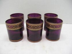 Amethyst Old Fashion Glasses Gold Glitter Design Shabby Chic She Shed Set of 6