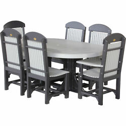 Poly Outdoor 4x6 Foot Oval Table 2 Captain Chairs 4 Regular Chairs