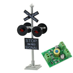 1 lot HO Scale Railroad Crossing Signal 4 heads LED made + Circuit board flasher $12.99