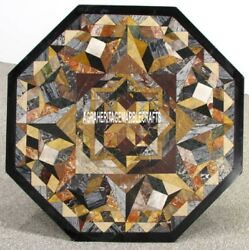 Adornment Marble Coffee Table Top Collectible Mosaic Inlay Patio Decor H3947
