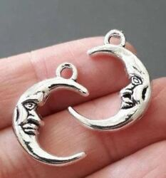 8pcs-2 sided silver tone moon face charm $3.99