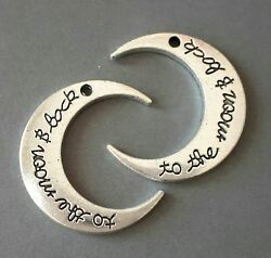 6pcs-2 sided  silver tone Moon charmlove charm $4.99