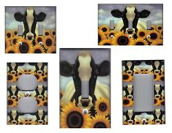 COW WITH SUNFLOWERS KITCHEN HOME DECOR LIGHT SWITCH PLATES OR OUTLETS $6.49