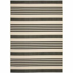 Safavieh Courtyard Stripe Black Bone Indoor Outdoor Rug - 9' x 12'
