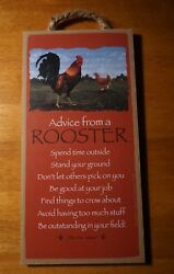 ADVICE FROM A ROOSTER SIGN Country Primitive Chicken Farm Kitchen Home Decor NEW $10.95