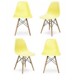 Retro Molded Light Yellow Plastic Dining Shell Chair with Wood Eiffel Legs (Set