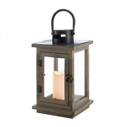 BULK LOTS Rustic Brown Wood Candle Lanterns with LED Flameless Pillar Candles
