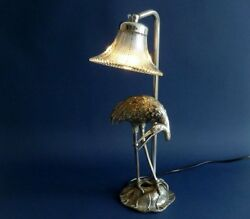 HOLLYWOOD REGENCY PERIOD SILVERED BRONZE MAISON BAGUES HERON TABLE DESK LAMP