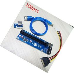 100x PCI-E Express 1x To 16x Extender Riser Card Adapter Power BTC Cable USB 3.0