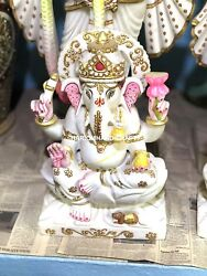 24'' Marble Ganapati Gold Prosperity Exotic Design Religious Wedding Gifts M022