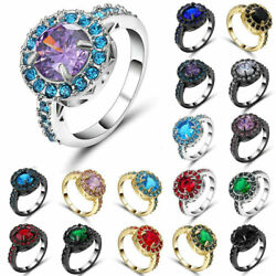 Gorgeous Women 925 Silver Filled Sapphire Gemstone Flower Ring Engagement Jewelr