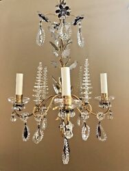 MID CENTURY MAISON BAGUES BEADED AMETHYST FLOWERED 4 LIGHT CHANDELIER - PERFECT