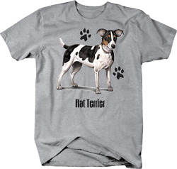 Cute Spotted Rat Terrier Dog Standing up With Paw Prints Custom Tshirt