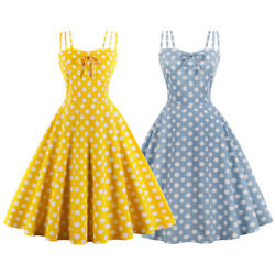 Vintage 1950s Style Pinup Retro Rockabilly Swing Dress Plus Size Polka Dot S-4XL