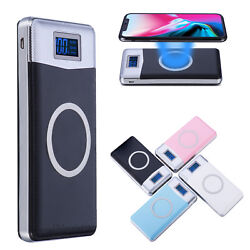 NEW 900000mAh Power Bank Qi Wireless Charging 2 USB LED Portable Battery Charger $17.95