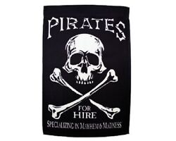 One Sided Decorative Garden Banner Flag 12#x27; x 18quot; PIRATES FOR HIRE Outdoor Grade $12.95