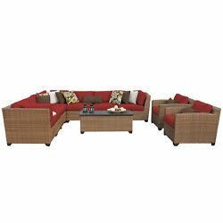 Outdoor Home Bayou Wicker 10-piece Outdoor Sectional and Armchair Patio Set