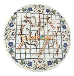 Round Marble Top Table Jungle Snakes & Ladders Inlay Rare With Floral Decor E152