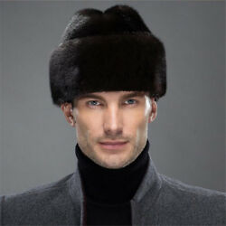 Winter French Real Mink Fur Bomber Hats Mens Full pelt Mink Fur Earmuffs Hats $140.40