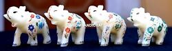 4 Pcs Antique Marble Elephant Trunk Up Semi Mosaic Inlaid Marquetry Decor H1968