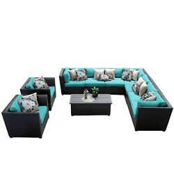 Meridian 10 Piece Outdoor Patio Wicker Sectional and Arm Chair Set