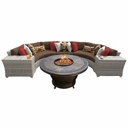 Catamaran 6-Piece Outdoor Patio Wicker Sectional with Fire Pit and Beverage