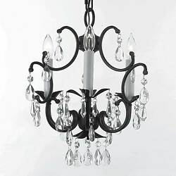 Wrought Iron Crystal Chandelier 3 Lights Lighting Country French Ceiling Fixture $75.00