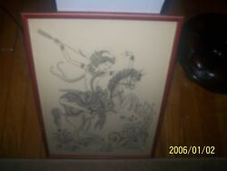 VINTAGE PAINTING FROM INDIA?OF A GODESS ON HORSEBACK HUNTING.SHE TRIMED IN GOLD!