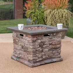 Stonewall Outdoor Propane Square Fire Pit with Lava Rocks by Christopher Knight