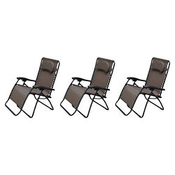 Caravan Canopy Infinity Zero Gravity Frame Oversized Patio Chair Brown (3 Pack)