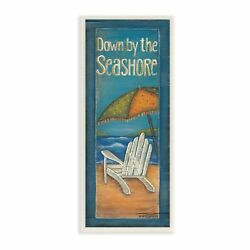 Down by the Seashore Adirondack Chair Illustration Wall Plaque Art