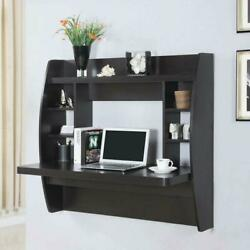 Wall Mounted Floating Office Computer Desk Storage Shelf Home Furniture Black $91.99