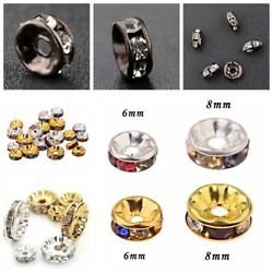 50pcs Silver Gold Black Crystal Rhinestone Rondelle Spacer Bead DIY 6mm 8mm 10mm