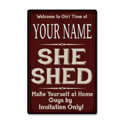 YOUR NAME She Shed Red Sign Personalized Lady Cave Metal Sign 108120088001